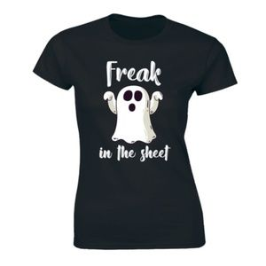 Halloween Freak In The Sheets Funny Womens T-shirt